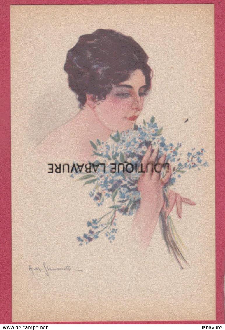 ILLUSTRATEUR---SIMONETTI--amadeo---Serie De 6 Cpa Femmes Avec Bouquet De Fleurs - Illustrateurs & Photographes