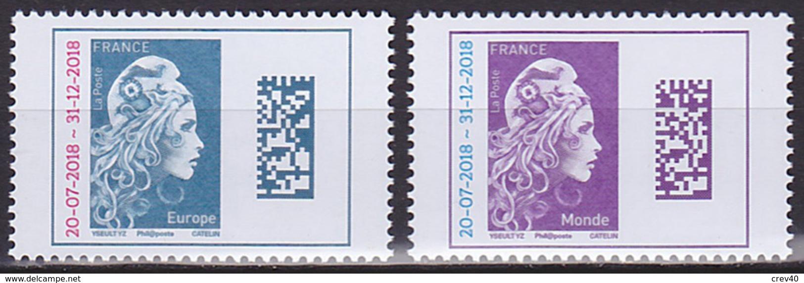 Série De 2 TP Neufs ** N° 5270/5271(Yvert) France 2018 - Marianne L'Engagée Europe Et Monde Surchargés - 2018-... Marianne L'Engagée