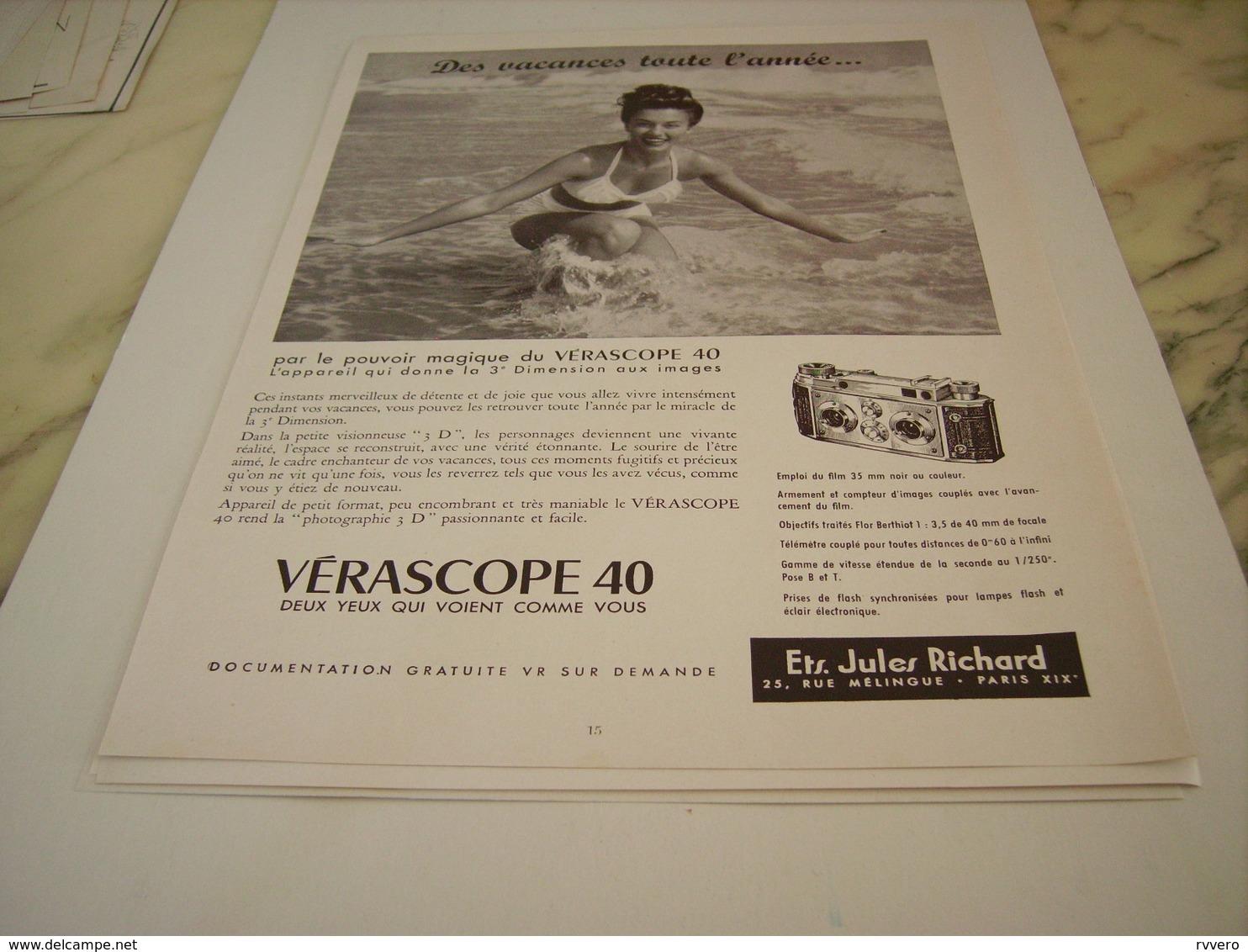 ANCIENNE PUBLICITE VERASCOPE 40 DE JULES RICHARD  1955 - Posters