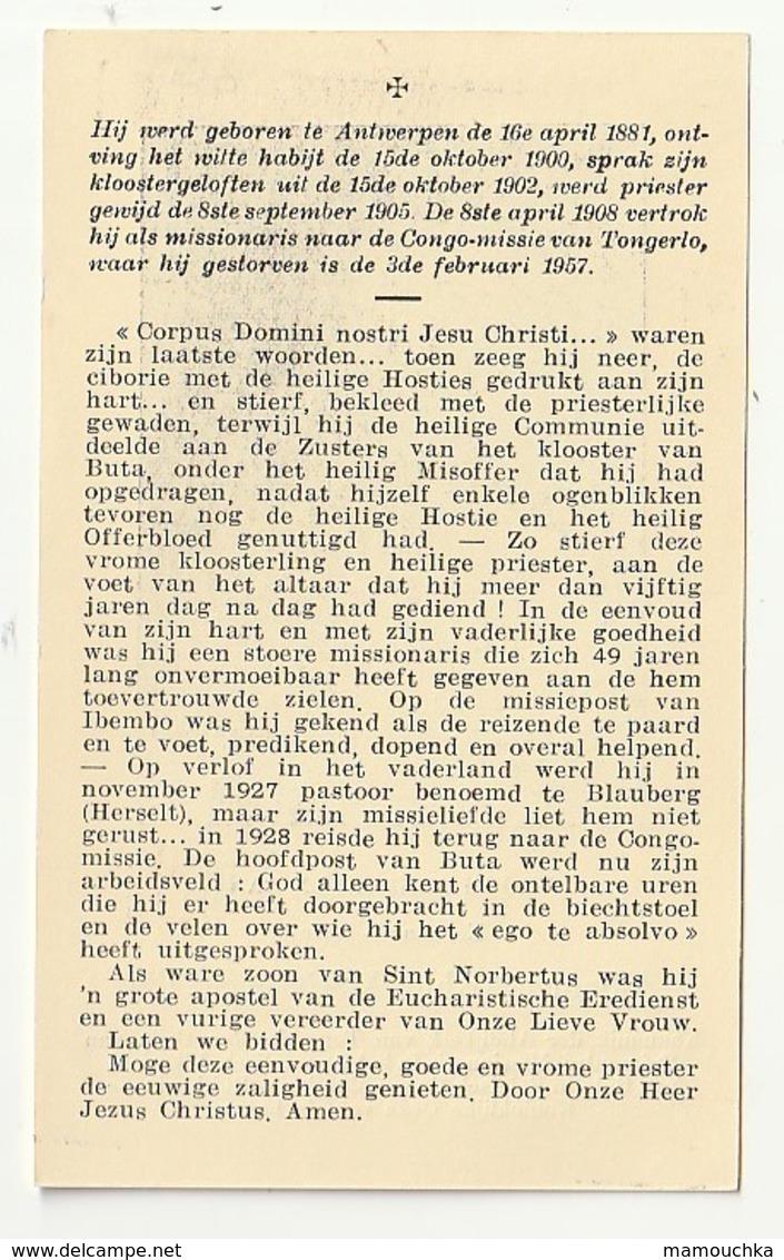 Albanus A. VAN REETH Kanunnik Abdijkerk Tongerlo Prémontré Missionaris Buta Belgisch Congo Antwerpen 1881 Tongerlo 1957 - Images Religieuses