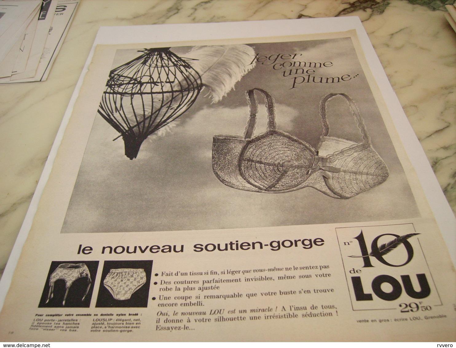 ANCIENNE   PUBLICITE LEGER COMME UNE PLUME DE LOU  1963 - Vintage Clothes & Linen