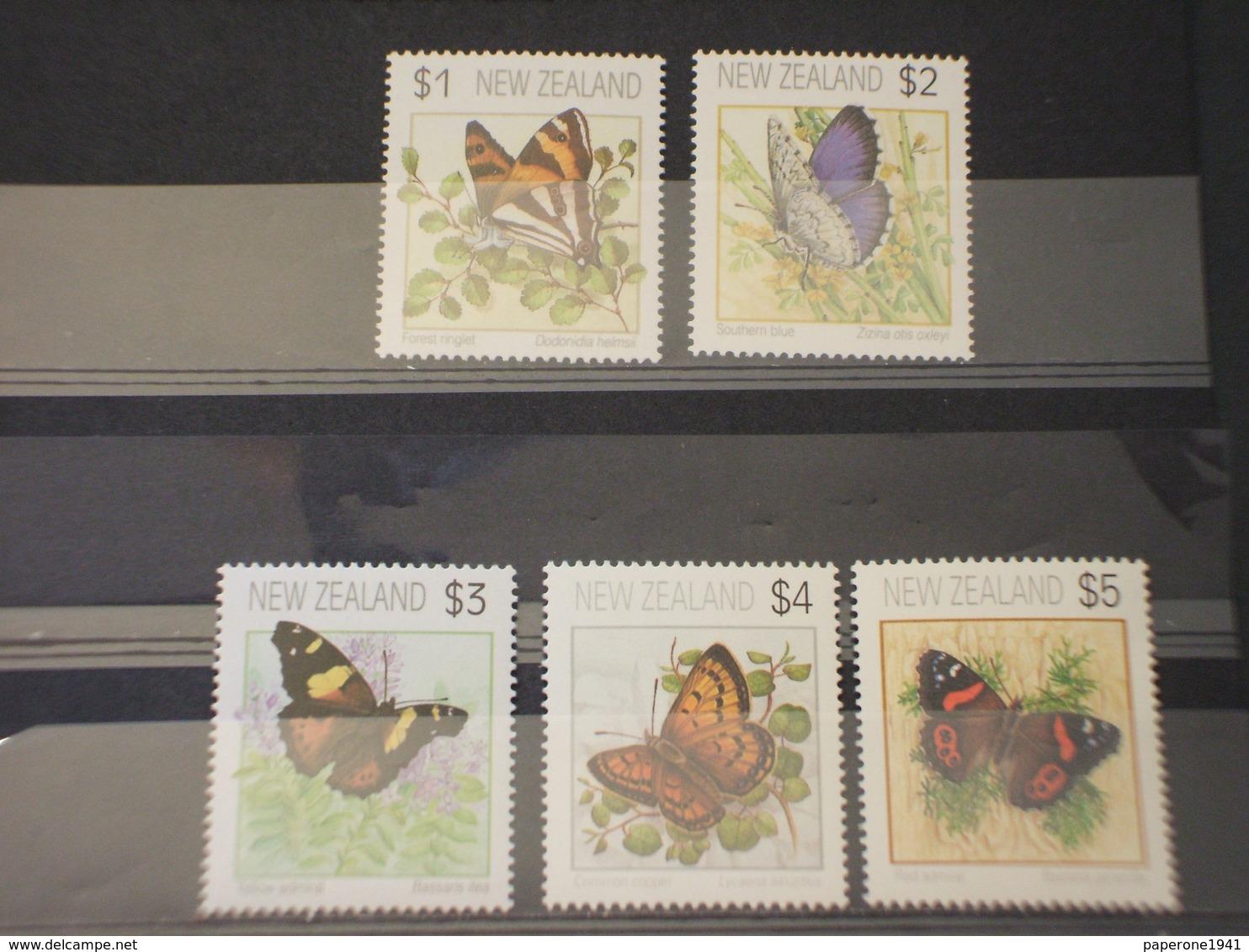 NUOVA ZELANDA - 1991/5 FARFALLE 3 + 2 VALORI - NUOVI(++) - Nuovi