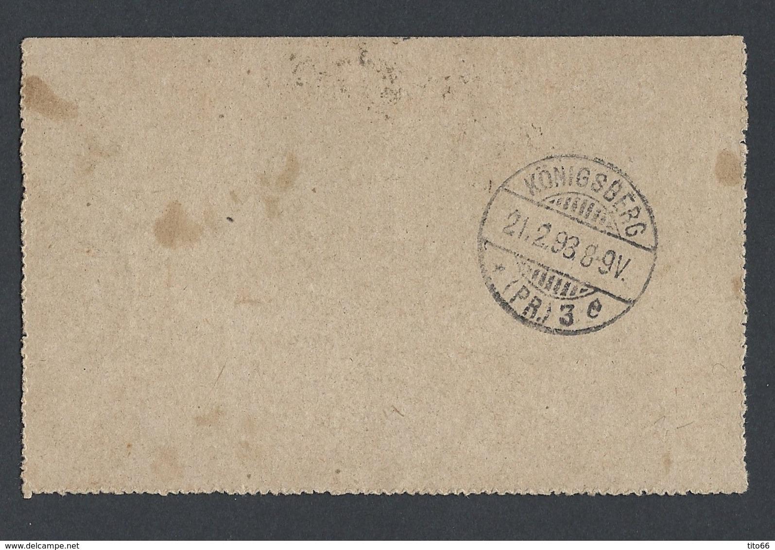 Carte Lettre Type Sage 15 C Bleu Avec Sage 89 En Complément De Nice 18/02/1893 Vers Konigsberg En Allemagne - Marcophilie (Lettres)