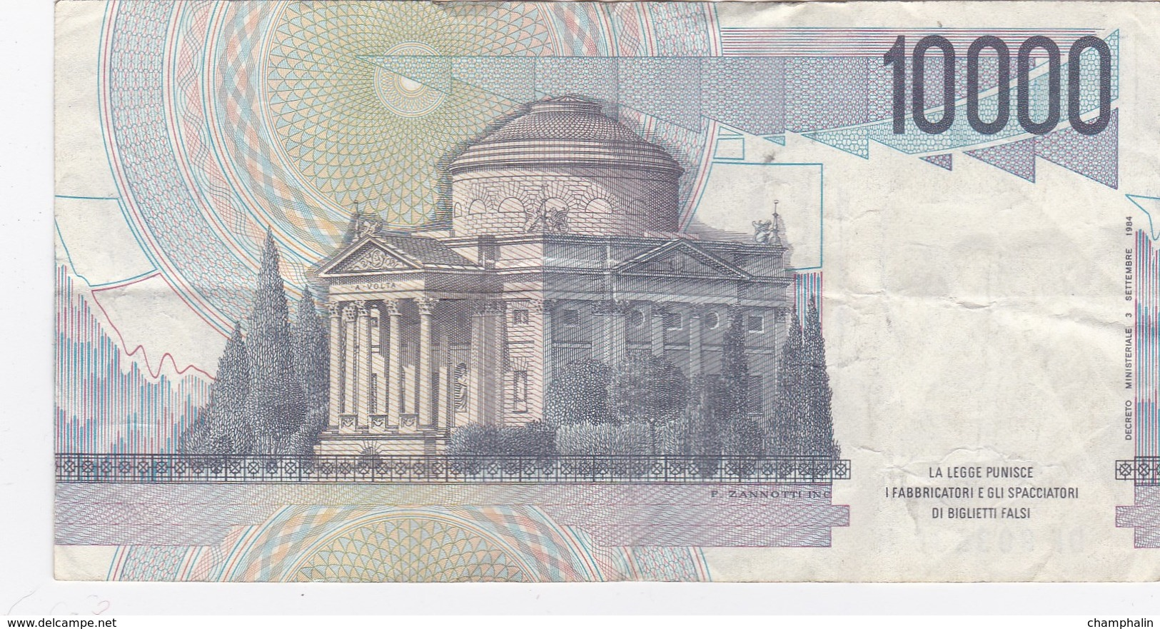 Italie - Billet De 10000 Lire - A. Volta - 3 Septembre 1984 - [ 2] 1946-… : République