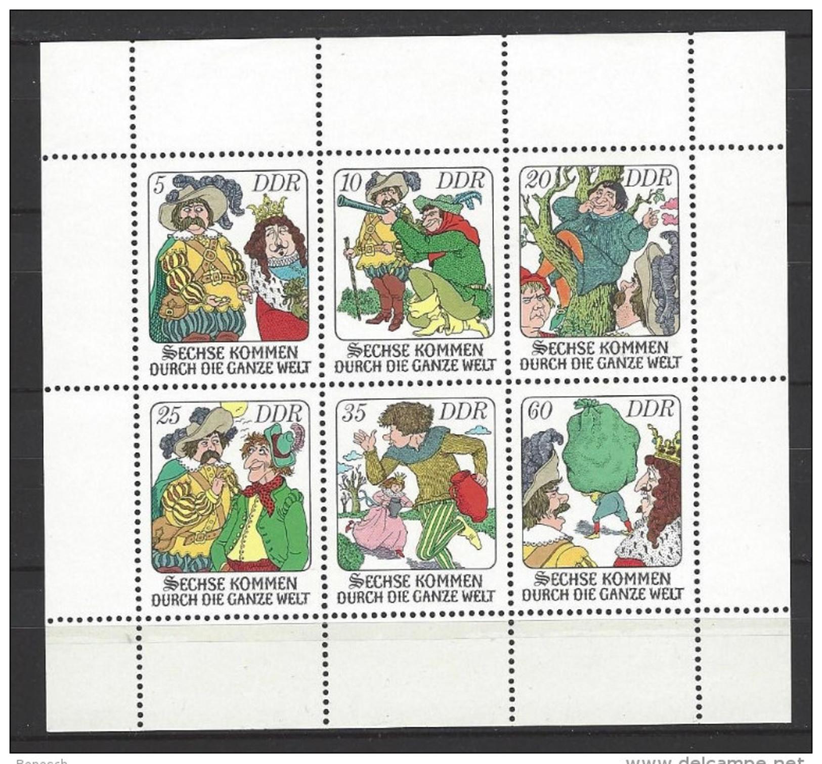 DDR Kleinbogen Mi-Nr. 2281 - 2286 Märchen Sechse Kommen Durch Die Ganze Welt Postfrisch - Bloques