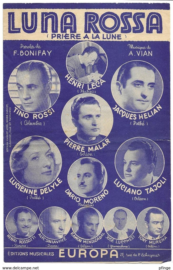 Luna Rossa - Tino Rossi, Jacques Hélian... (p :  Fernand Bonifay ;  M A. Vian), - Musique & Instruments