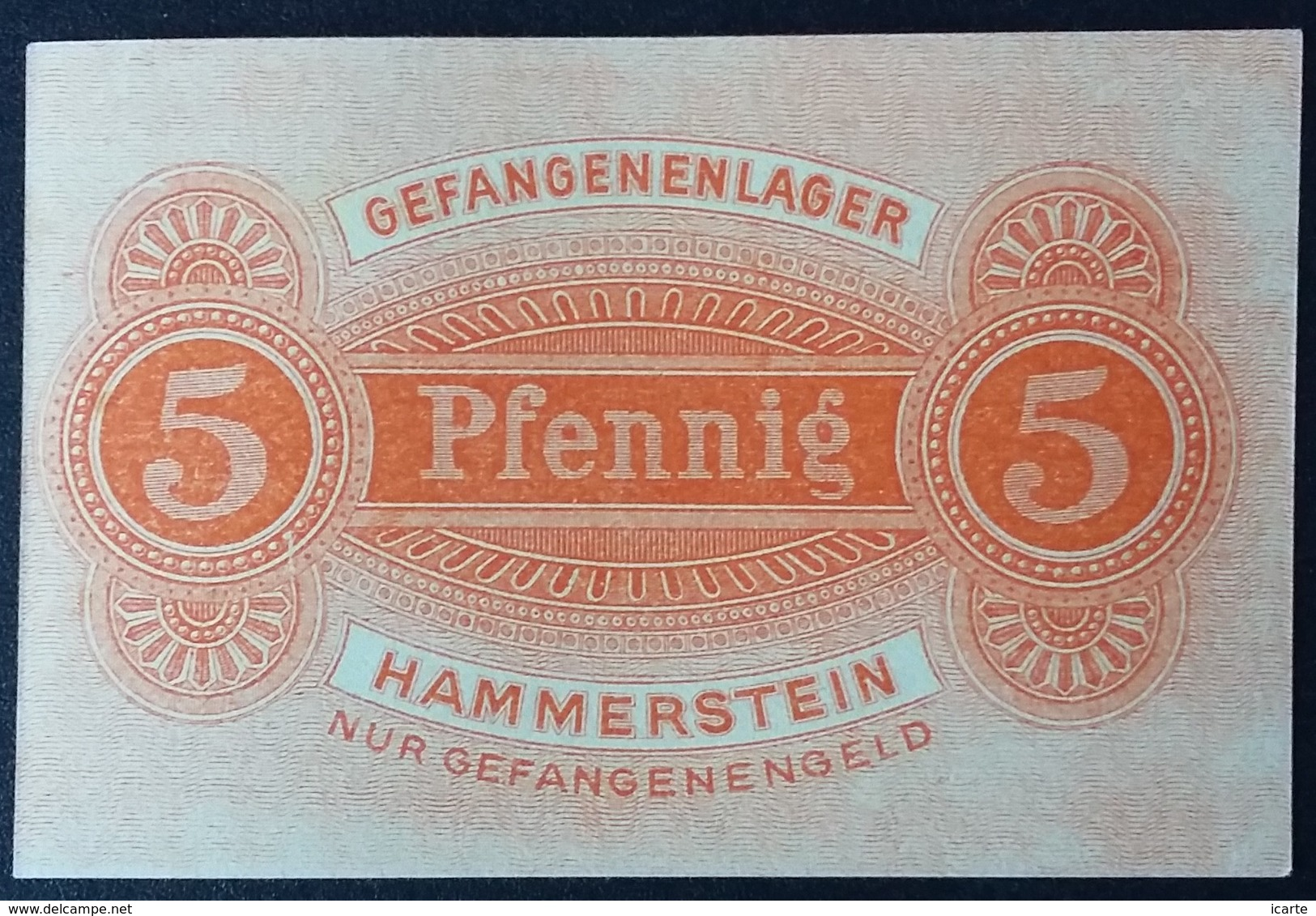 Billet 5 Pfennig LAGERGELD MONNAIE DE CAMP PRISONNIER DE GUERRE Kriegsgefangenenlager HAMMERSTEIN - Autres