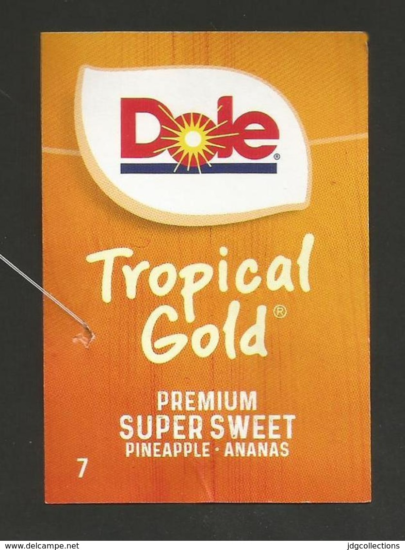 # PINEAPPLE DOLE TROPICAL GOLD PREMIUM Size 7 Fruit Tag Balise Etiqueta Anhanger Ananas Pina Costa Rica - Fruits & Vegetables