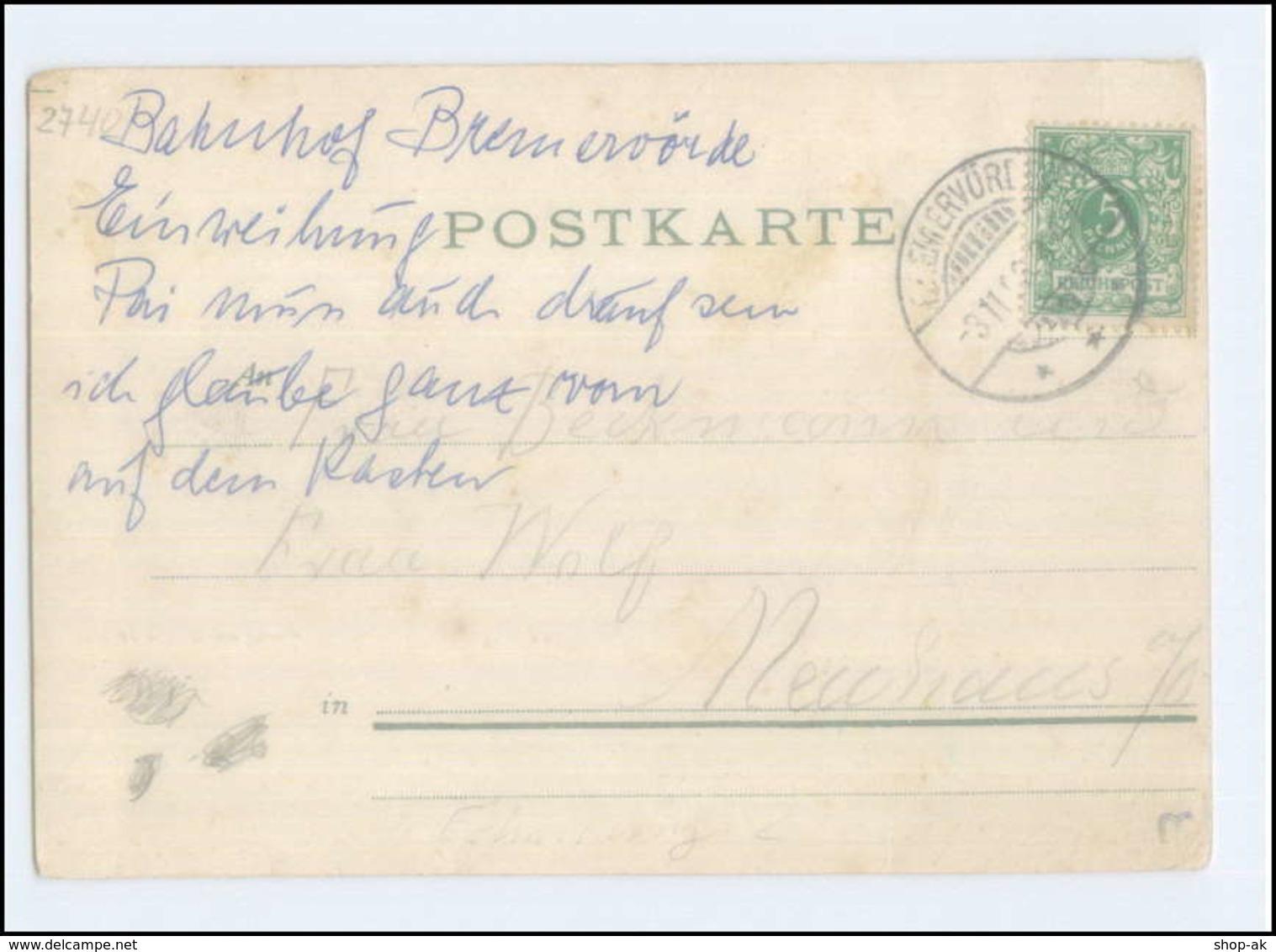 N7032-2740/ Gruß Aus Bremervörde  Bahnhof AK 1898 - Allemagne