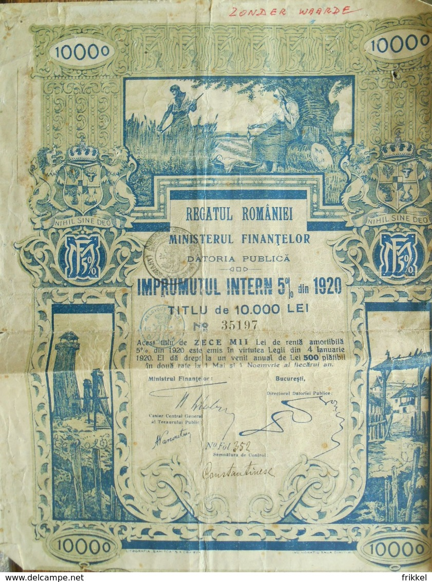 Regatul Romaniei Ministrul Finantelor 1920 ( Aandeel Obligation Action ) - Banque & Assurance