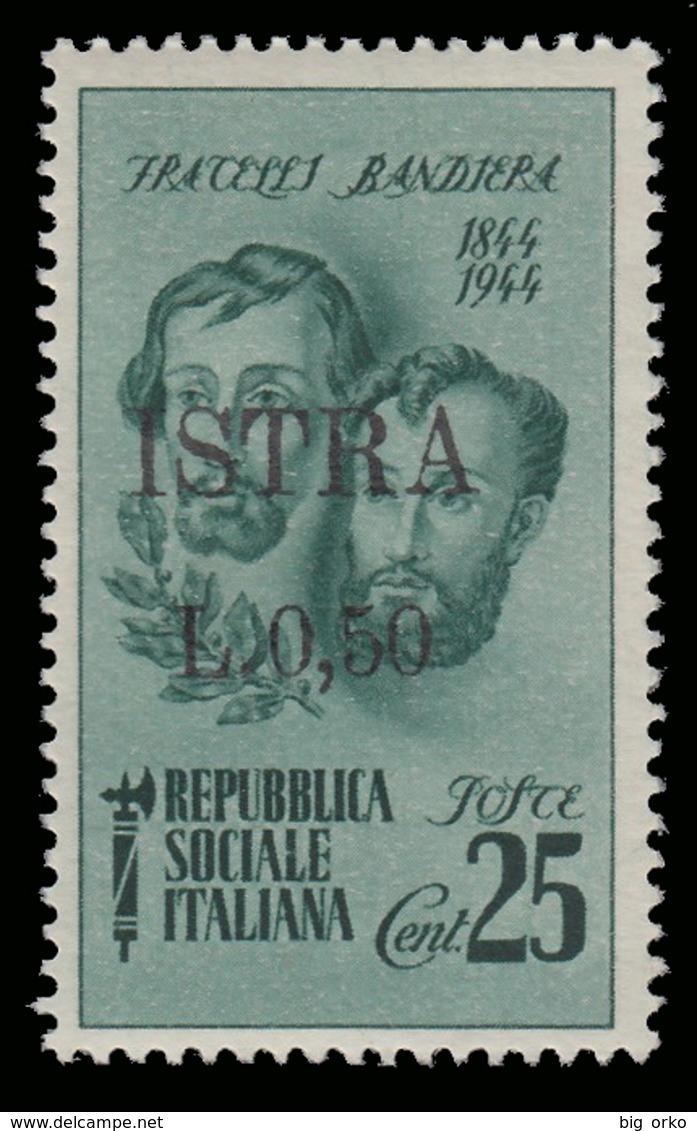 ISTRIA (POLA) - Occupazione Jugoslava  50 C. Su 25 C. Verde (Fratelli Bandiera) - 1945 - 1945-1992 Repubblica Socialista Federale Di Jugoslavia