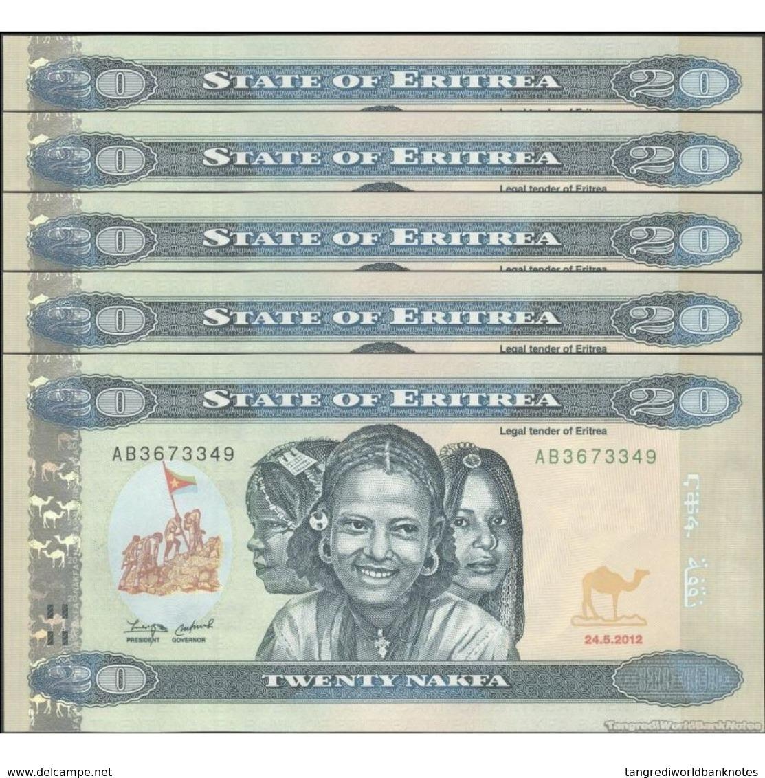 TWN - ERITREA 12 - 20 Nakfa 24.5.2012 DEALERS LOT X 5 - Prefix AB UNC - Eritrea