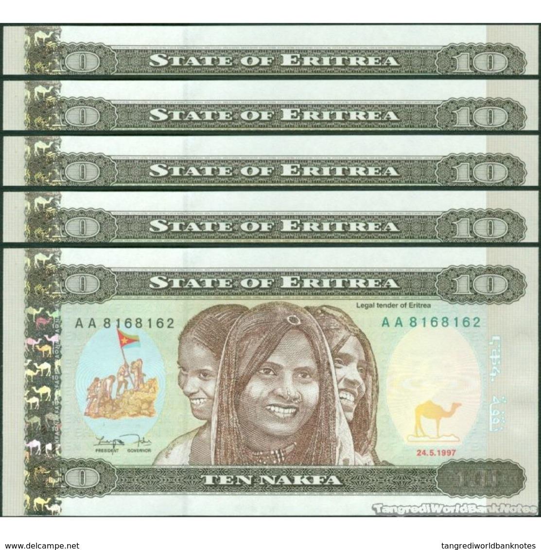 TWN - ERITREA 3 - 10 Nakfa 24.5.1997 DEALERS LOT X 5 - Prefix AA UNC - Eritrea