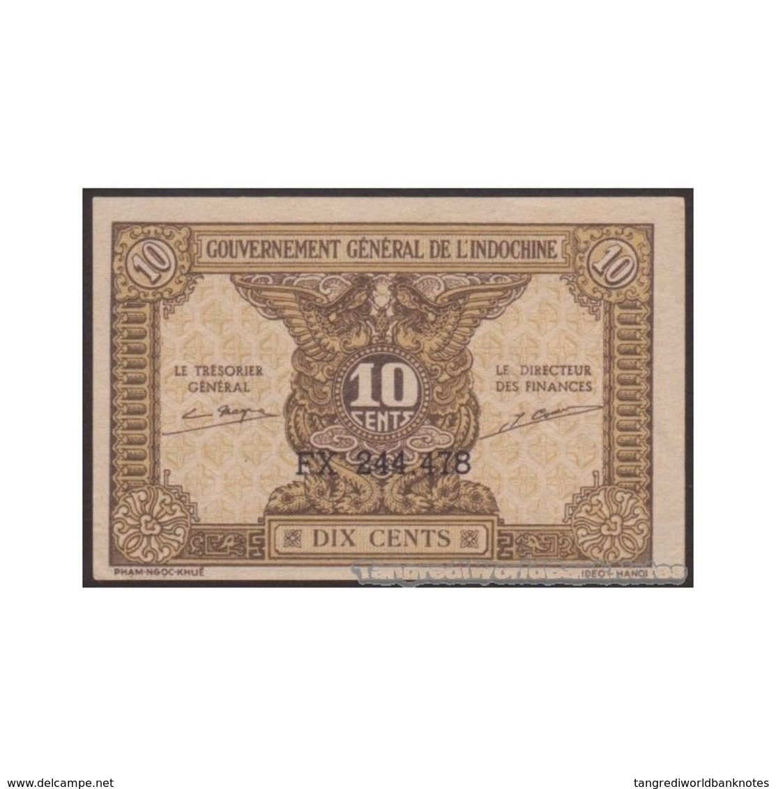 TWN - FRENCH INDO-CHINA 89a - 10 Cents 1942 Serial # Format XX 123.456 - Various Suffixes XF+ - Indocina