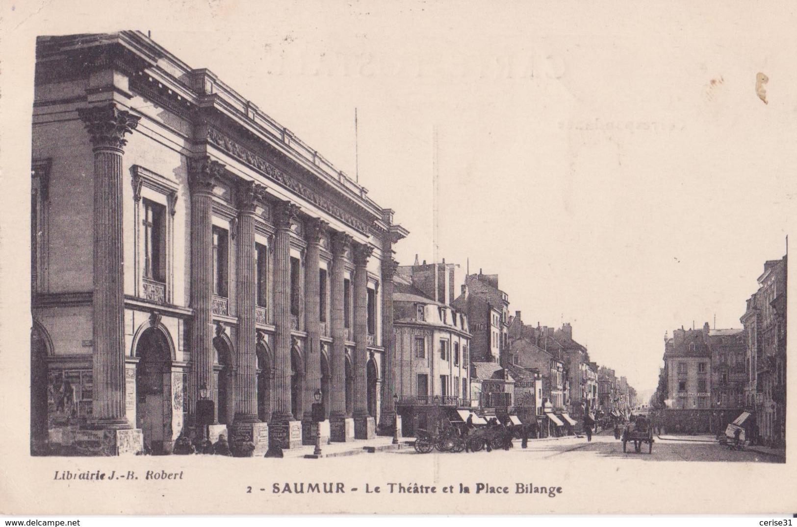 CPA  - 2. SAUMUR  - Le Théâtre Et La Place Bilange - Saumur
