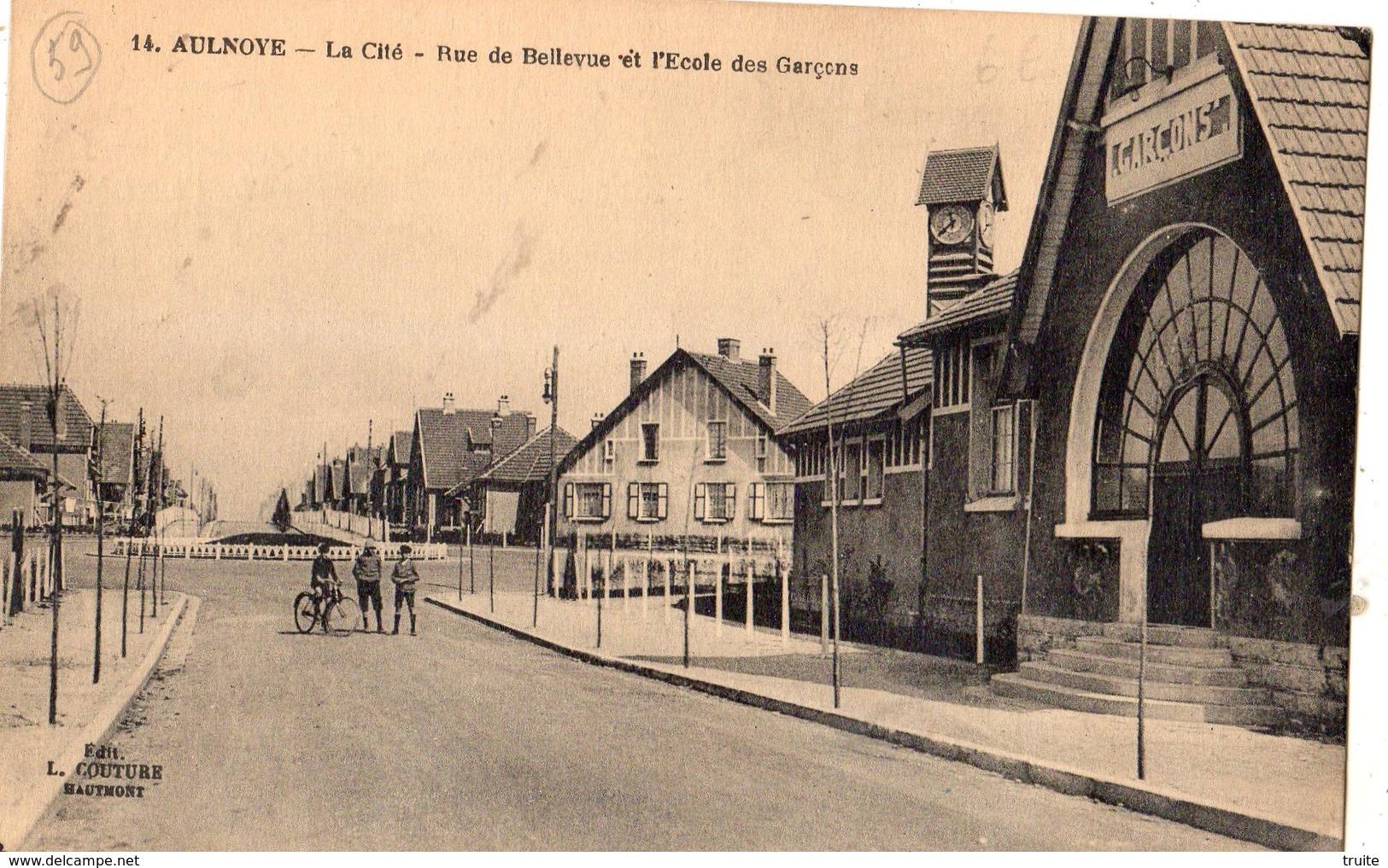 AULNOYE LA CITE RUE DE BELLEVUE ET L'ECOLE DES GARCONS - Aulnoye