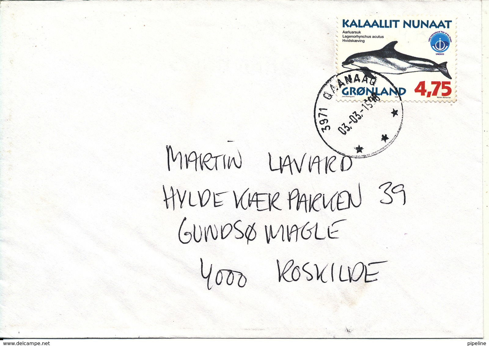 Greenland Cover Sent To Denmark Qaanaaq 3-3-1998 Single Franked - Groenlandia