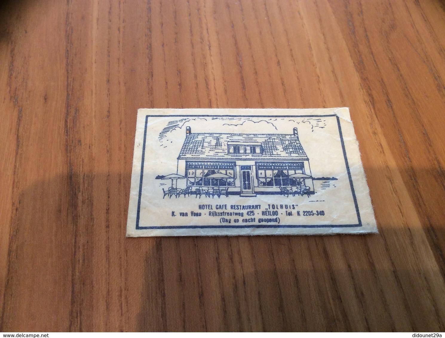 """Ancien Sachet De Sucre Pays-Bas """"HOTEL CAFÉ RESTAURANT TOLHUIS - HEILOO"""" Années 60 - Sugars"""