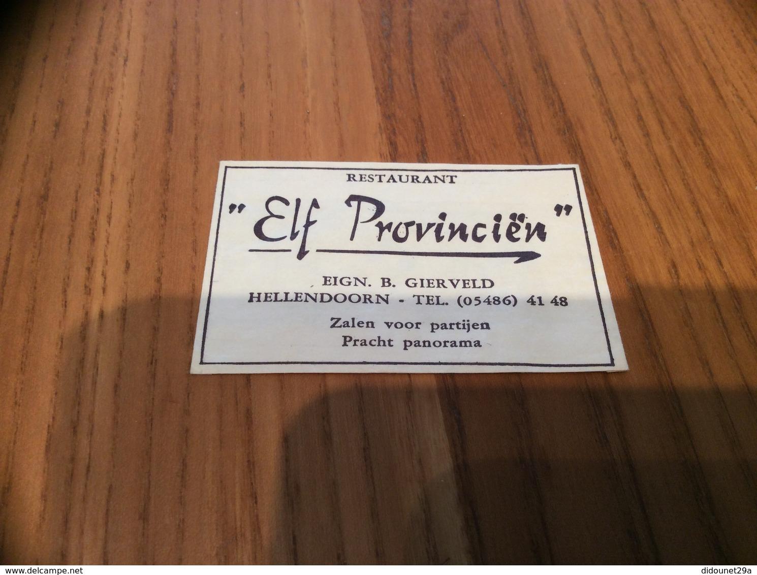 """Ancien Sachet De Sucre Pays-Bas """"RESTAURANT Elf Provinciën EIGN. B GIERVELD - HELLENDOORN"""" Années 60 - Sugars"""