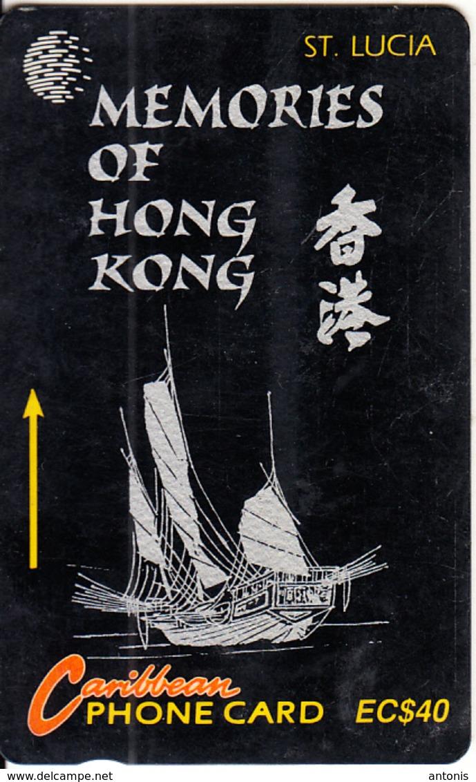 ST. LUCIA ISL.(GPT) - Memories Of Hong Kong 1, CN : 14CSLF(normal 0), Tirage 15000, Used - Santa Lucía
