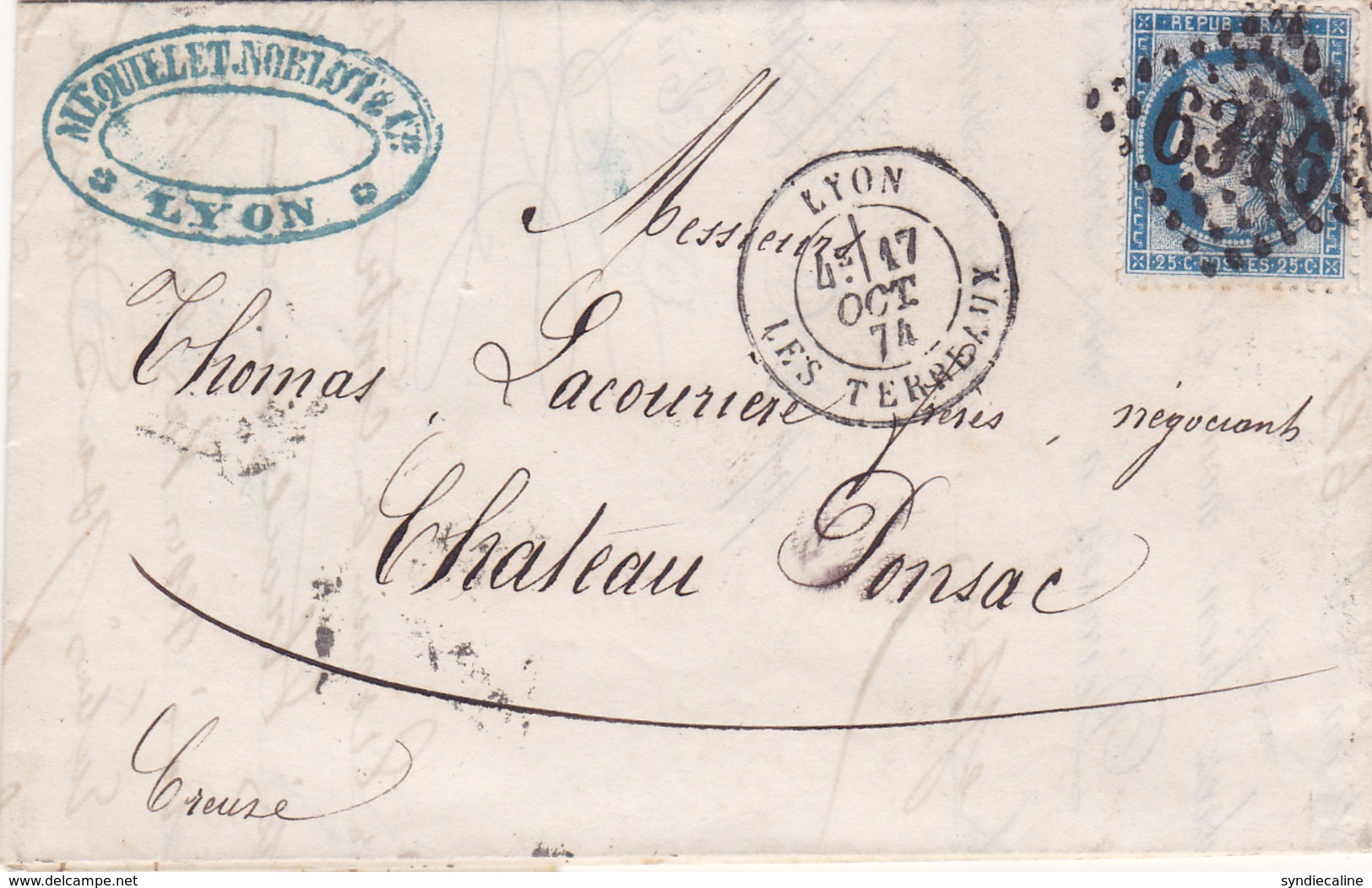 724 -  CERES 60 -  LYON  A  CHATEAU PONSAC - Postmark Collection (Covers)