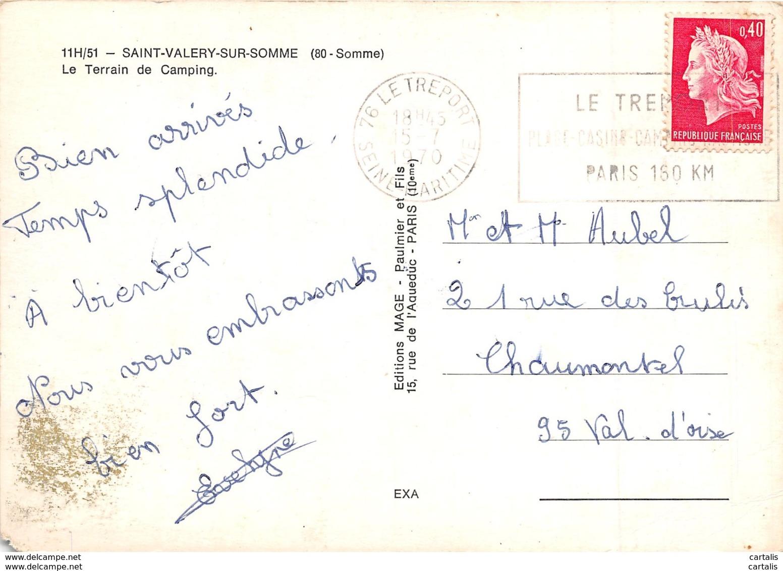 80-SAINT VALERY SUR SOMME-N°271-C/0267 - Saint Valery Sur Somme