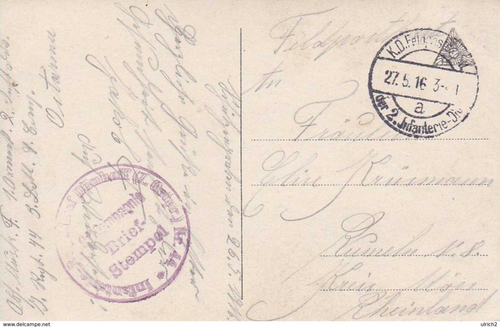 AK Der Liebessteg - Mann Und Frau Auf Steg M Blumen - Feldpost Inf. Rgt. Graf Dönhoff (7. Ostpr.) Nr. 44 - 1916 (41813) - Paare