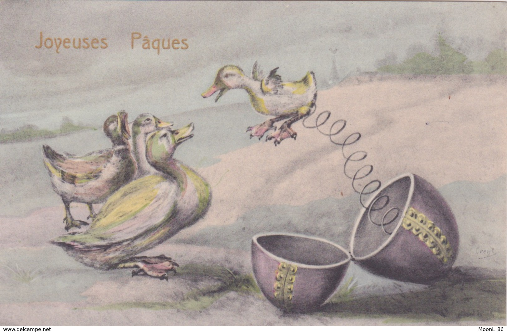 JOYEUSES  PAQUES - PAQUE - POUSSI N CANARD OEUF - Pâques