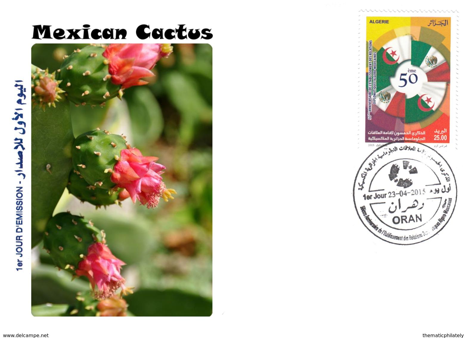 DZ Algerien 1712 FDC Flora Mexikanischer Kaktus Natur Pflanzen Blumen - Sukkulenten