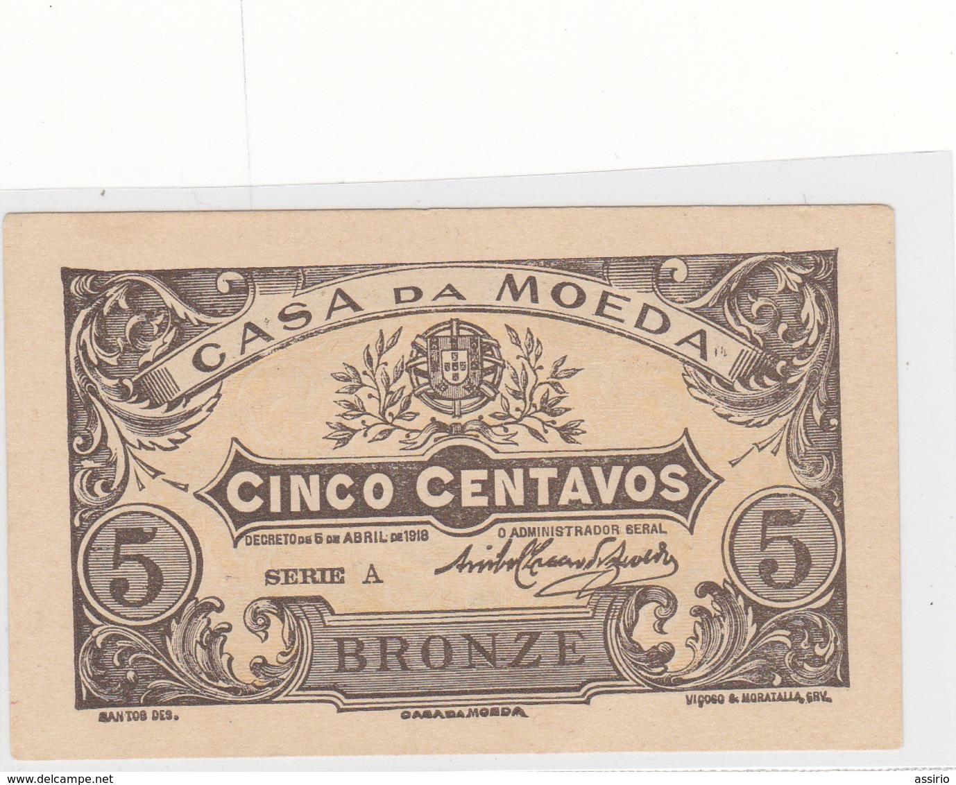 Portugal - 5 Centavos -casa Da Moeda - Portugal