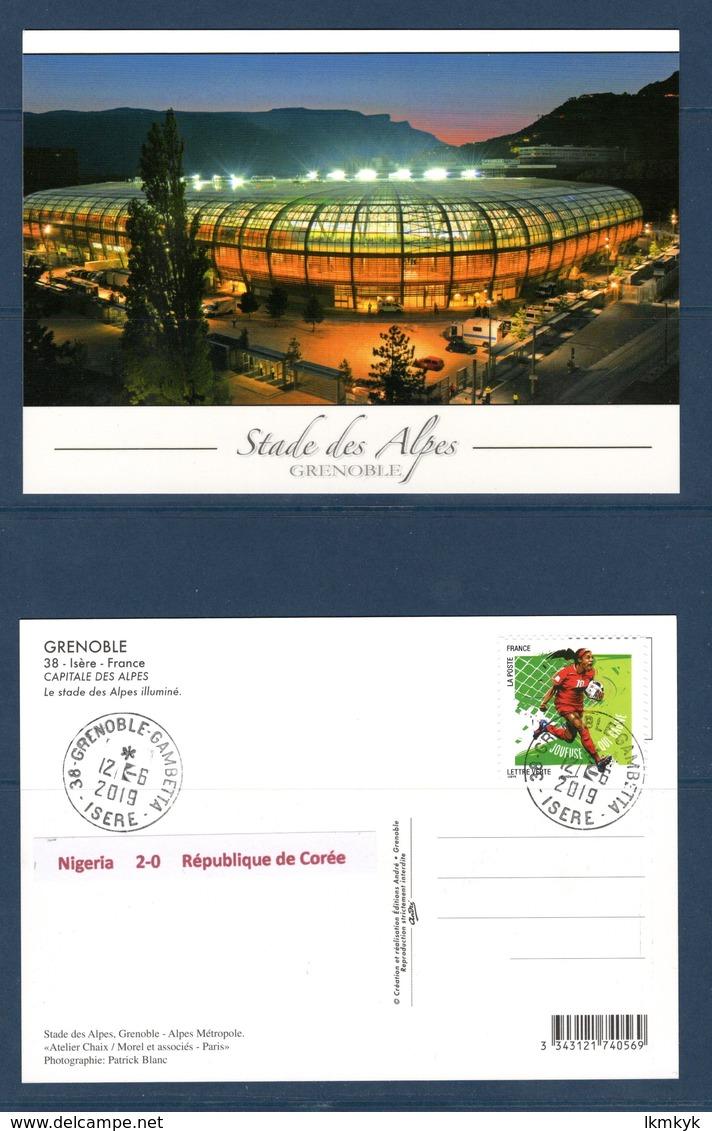 France 2019.Carte Stade Des Alpes.Coupe Du Monde Foot Nigeria-République De Corée.Match 12-06-2019. - Grenoble