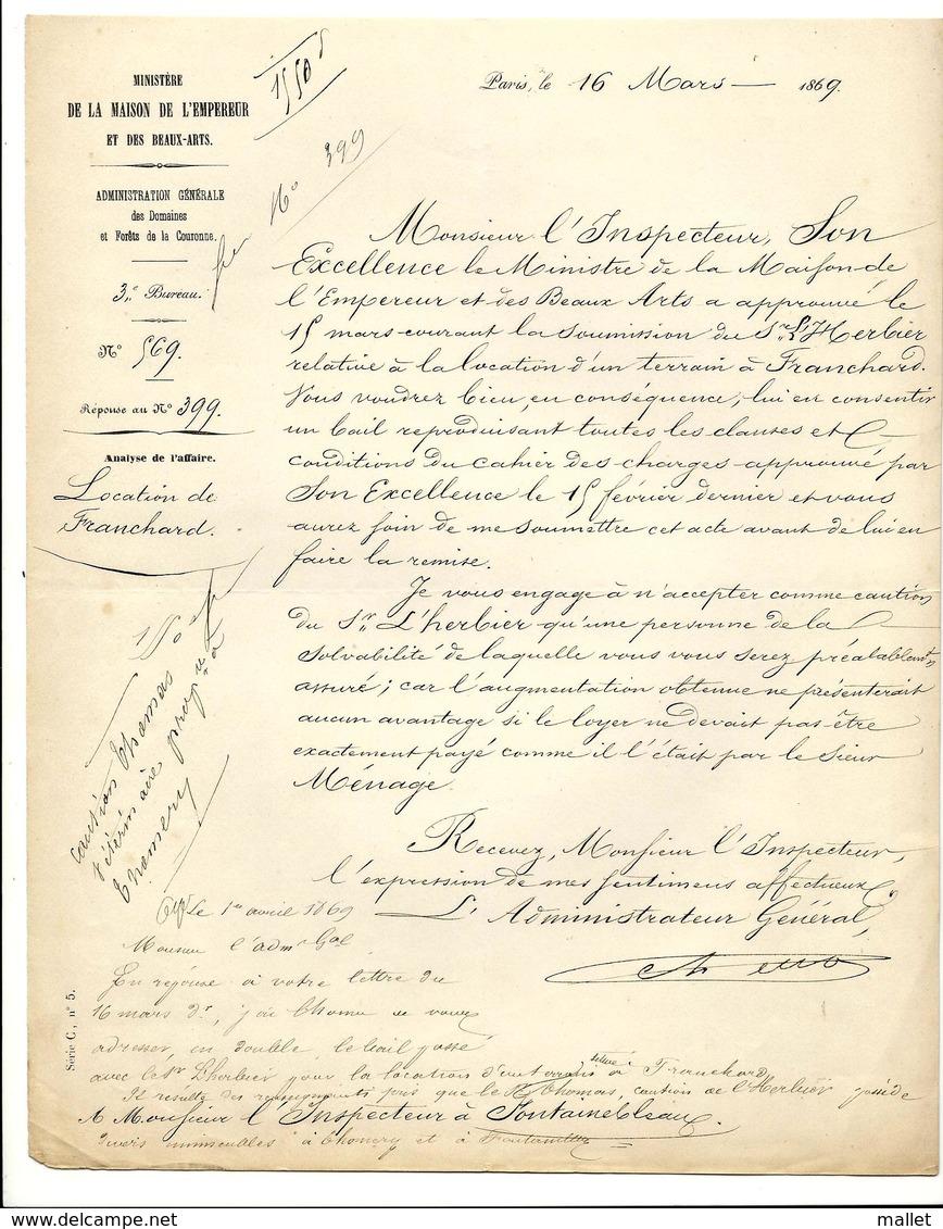 Courrier Relatif à La Location Du Terrain De Franchard - 16/03/1869 - Ministère De La Maison De L'Empereur - Documents Historiques