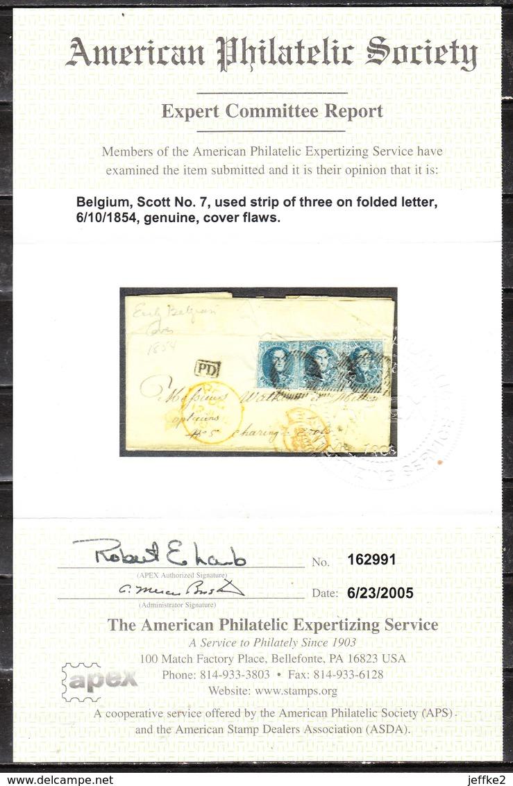 7  Bande 3 Sur Lettre De 1854 De Gand Pour L'Angleterre + Certificat - LOOK!!!! - 1851-1857 Médaillons (6/8)