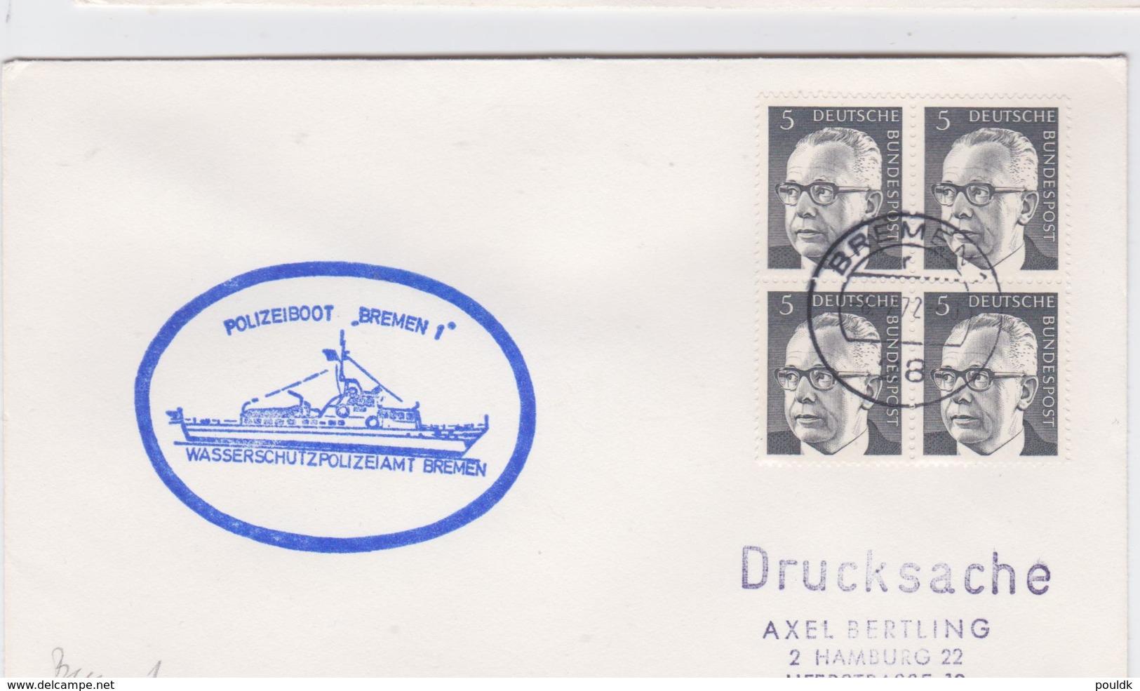 Germany Cover: Polizeiboot Bremen 1 From Wasserschutzpolizeiamt Bremen Posted Bremen 1972 (G100-38) - Police - Gendarmerie