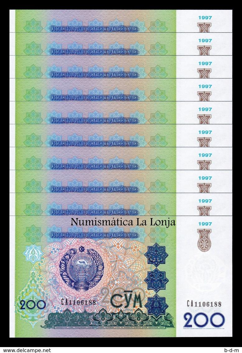 Uzbekistan Lot Bundle 10 Banknotes 200 Sum 1997 Pick 80 SC UNC - Uzbekistán