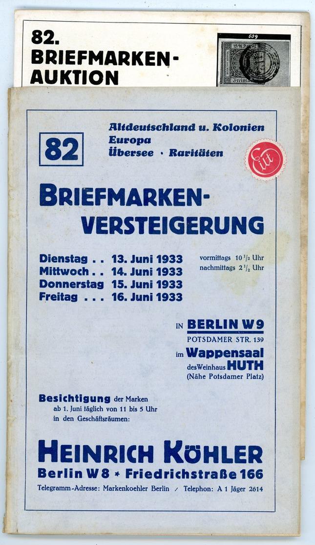 82. Köhler Briefmarken Auktion 1933 - Sehr Seltener Auktionskatalog Mit Den Bildtafeln - Catalogues For Auction Houses