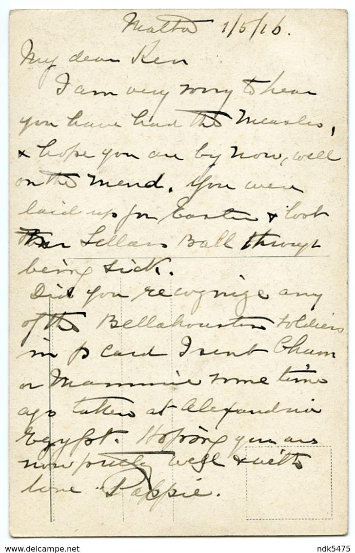 MALTA : ST. JOHN'S SQUARE / NOTE WRITTEN FROM MALTA, 1916 - Malta