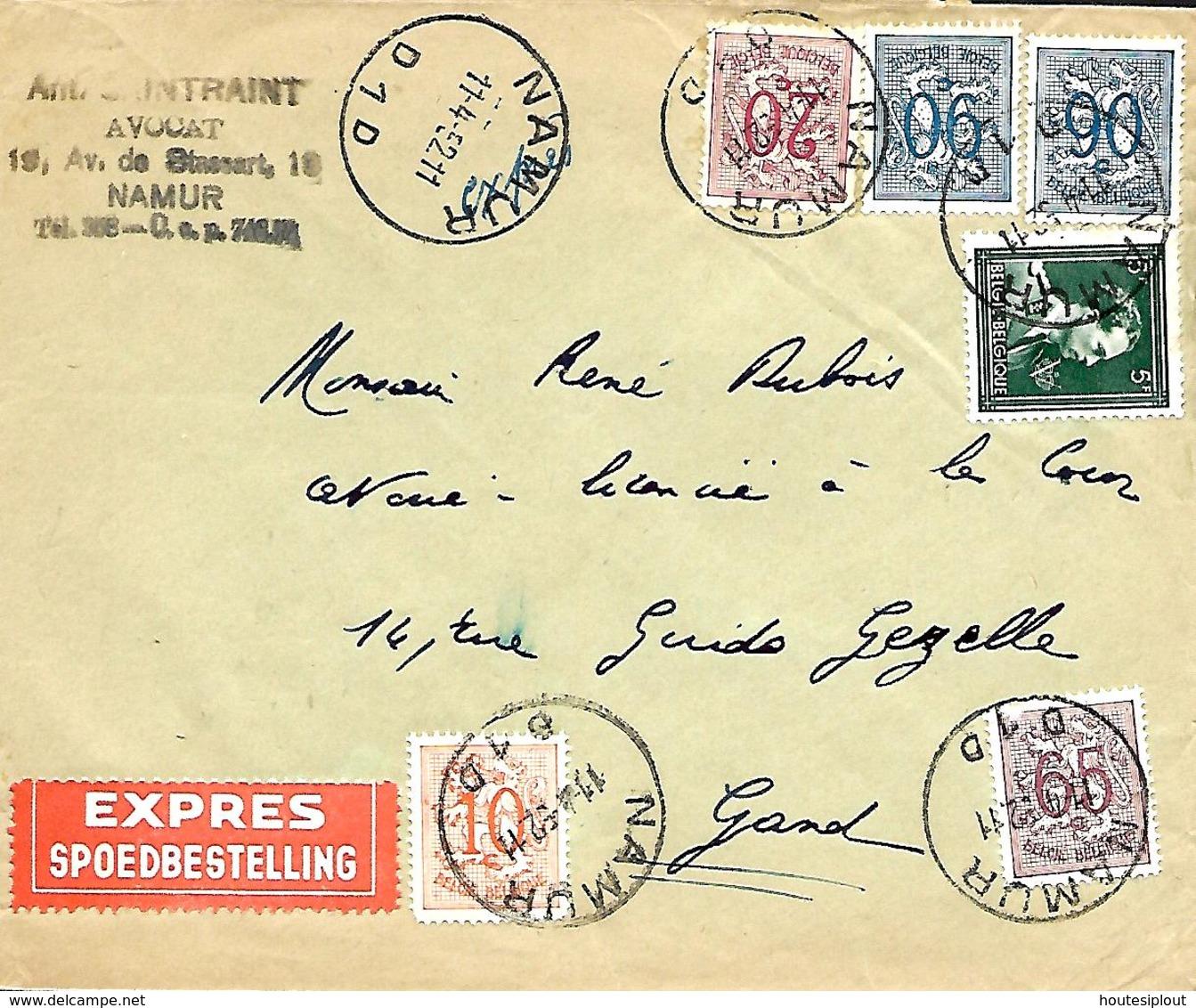 Belgique. TP 696, 850, 851, 856 (dentelure) + 858 (x 2)  L. Exprès Namur 1 > Gent   1952 - Cartas