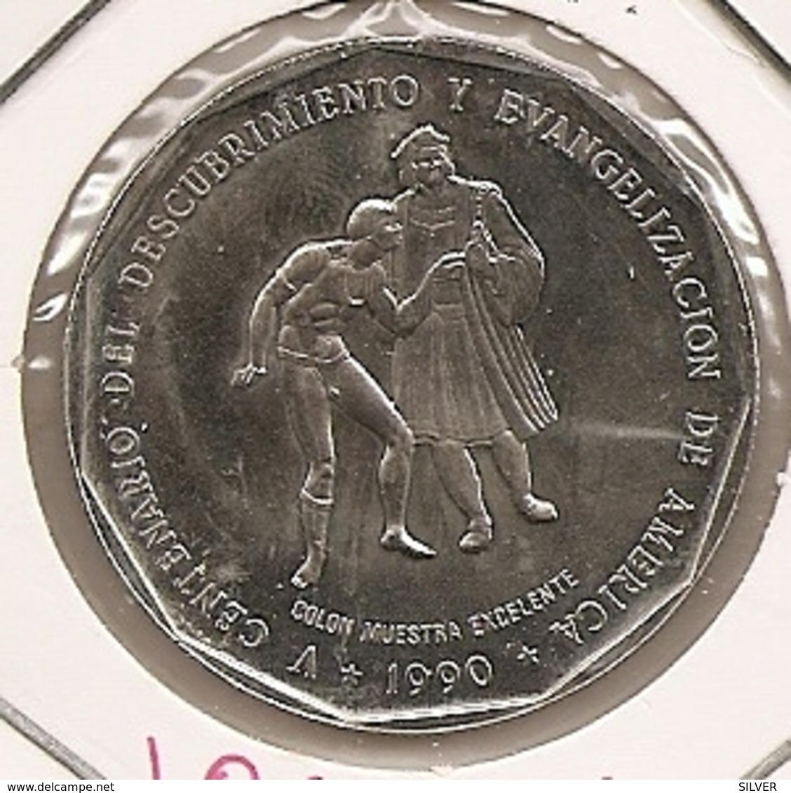 DOMINICAINE REPUBLIQUE 1 PESO 1990 RARO RARE MINTAGE 30 000 - Dominicaine