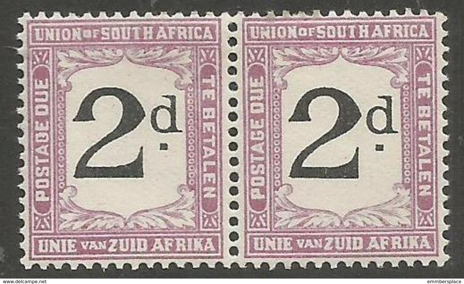 South Africa - 1923 Postage Due Pair 2d Error POSTADE L/H Stamp MH *   SG D14v  Sc J14v - South Africa (...-1961)