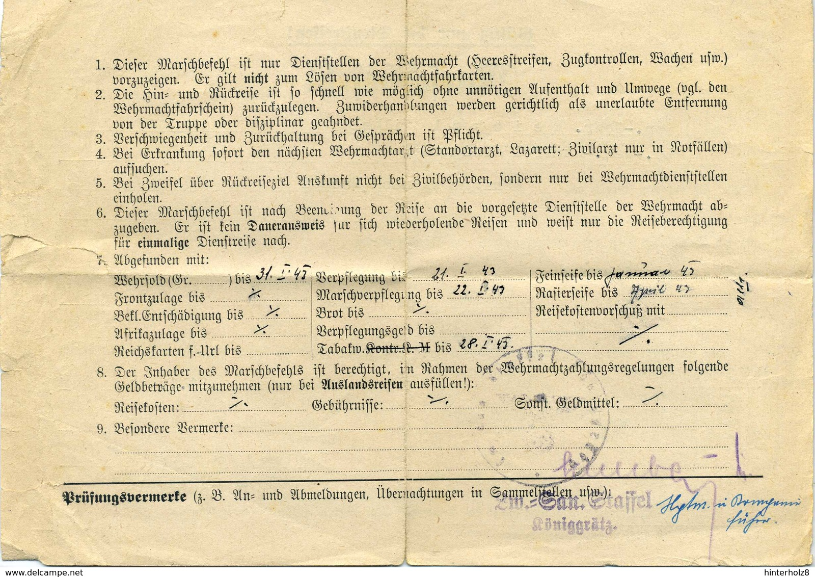 DR.; Marschbefehl Für Dienstreise, Königgrätz 1944 - Dokumente