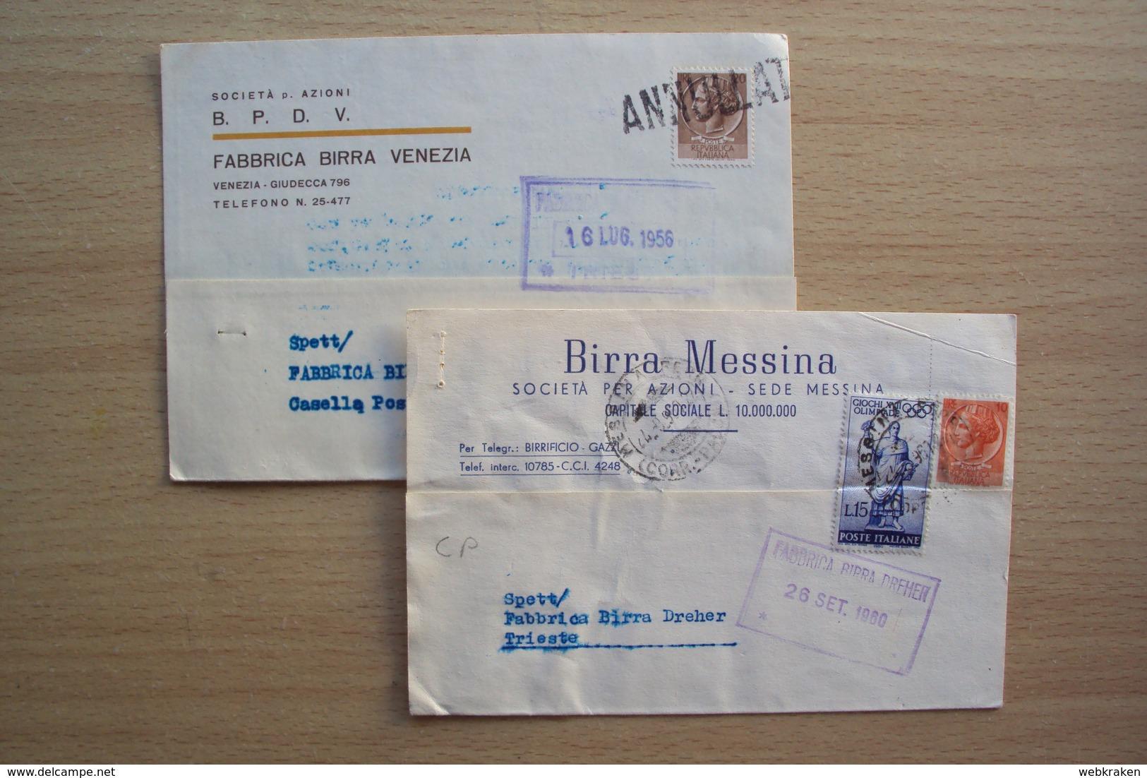 ITALIA DUE CARTOLINE INTESTATE BIRRIFICI BIRRA BIRRIFICIO MESSINA E FABBRICA BIRRA VENEZIA - Italia