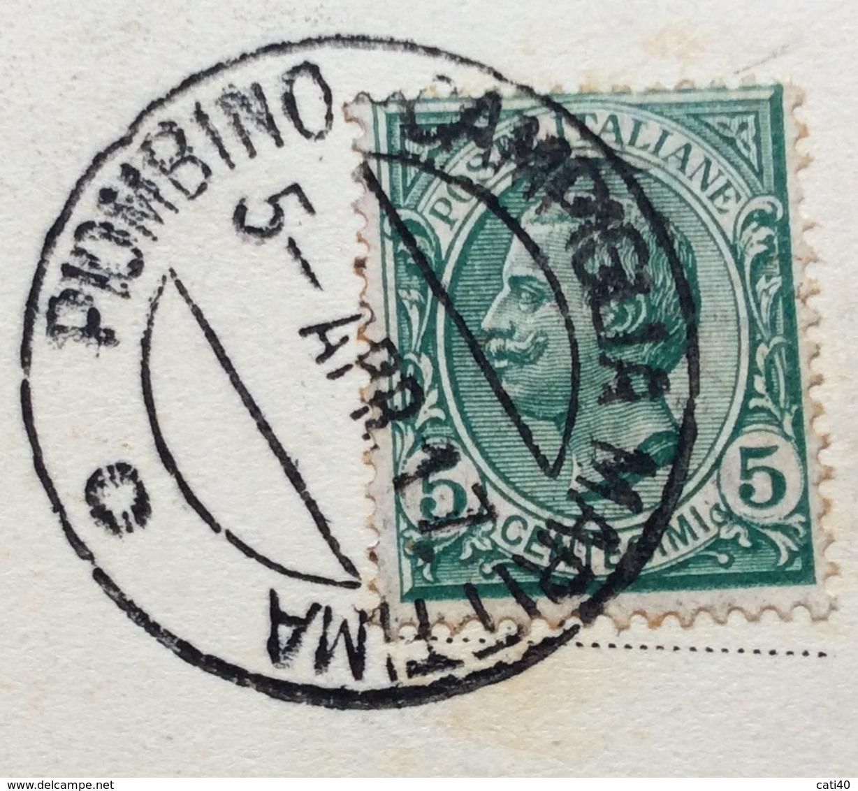 AMBULANTE  PIOMBINO - CAMPIGLIA MARITTIMA  O  5 APR 17  CARTOLINA PIOMBINO PORTO PONTE DI SCARICO  PER SPEZIA - Storia Postale
