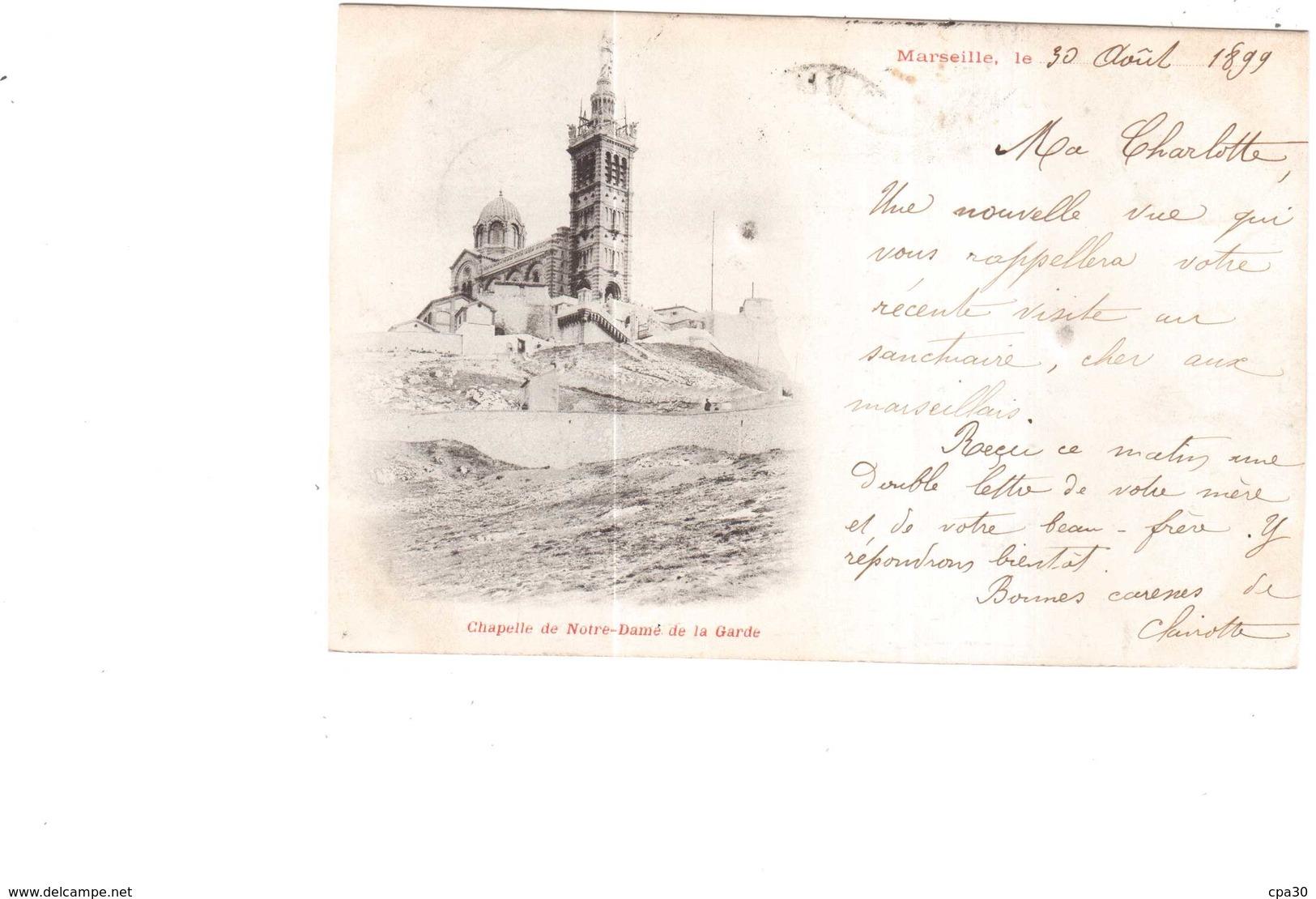 CPA B-du-R.MARSEILLE.CHAPELLE DE NOTRE DAME DE LA GARDE.VOYAGEE 1899 - Notre-Dame De La Garde, Ascenseur