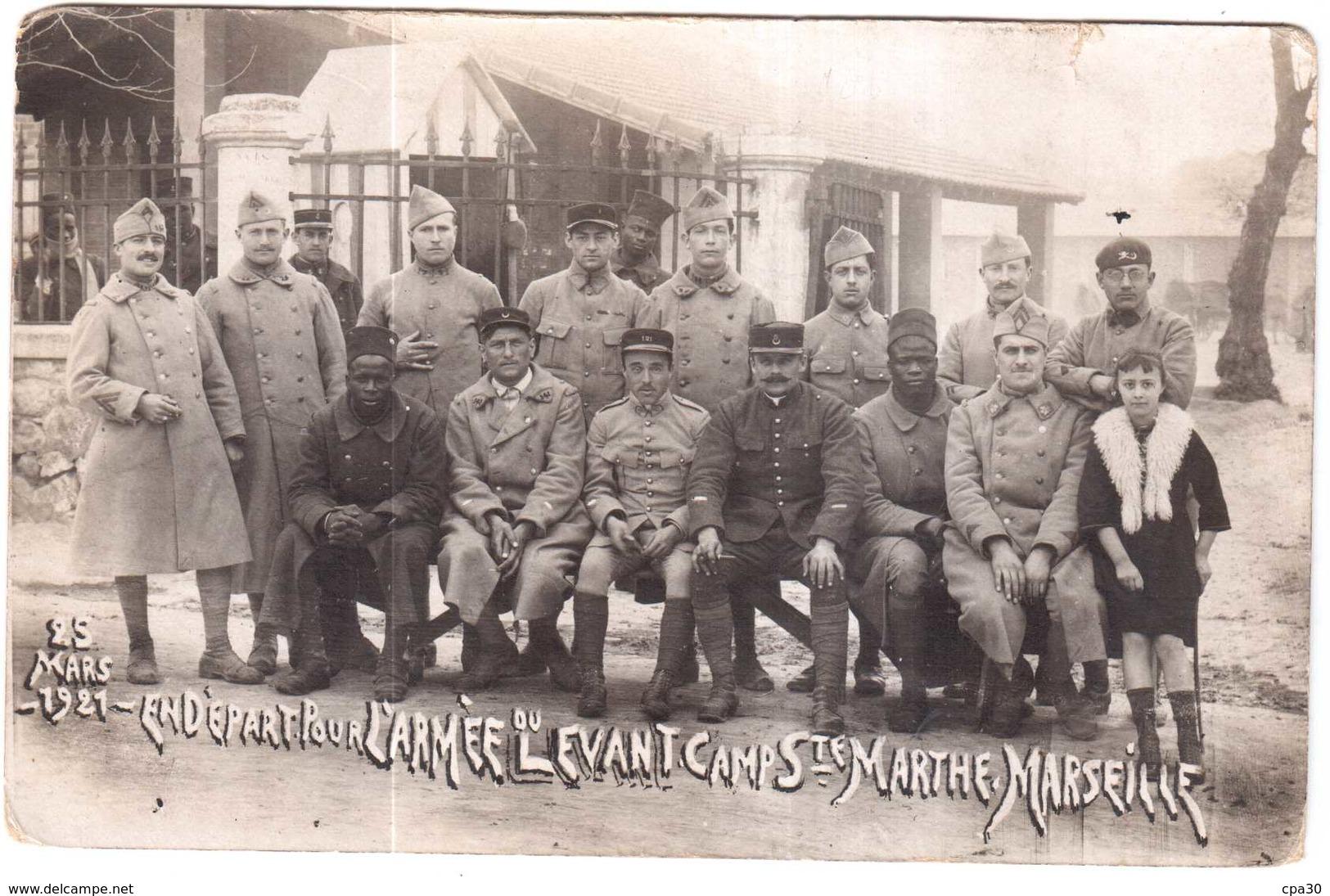 CPA B-du-R.MARSEILLE.25 MARS 1921 EN DEPART POUR L'ARMEE DU LEVANT.CAMP Ste MARTHE - Non Classés