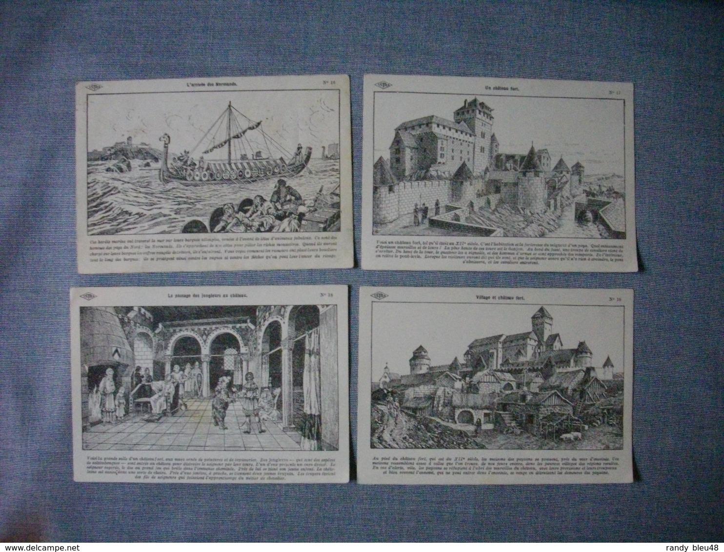 Lot De 4 Cartes Illustrées Signé CARLIER  -  Histoire De FRANCE  -  Numéros  16  -  17  -  18  -  19 - Histoire