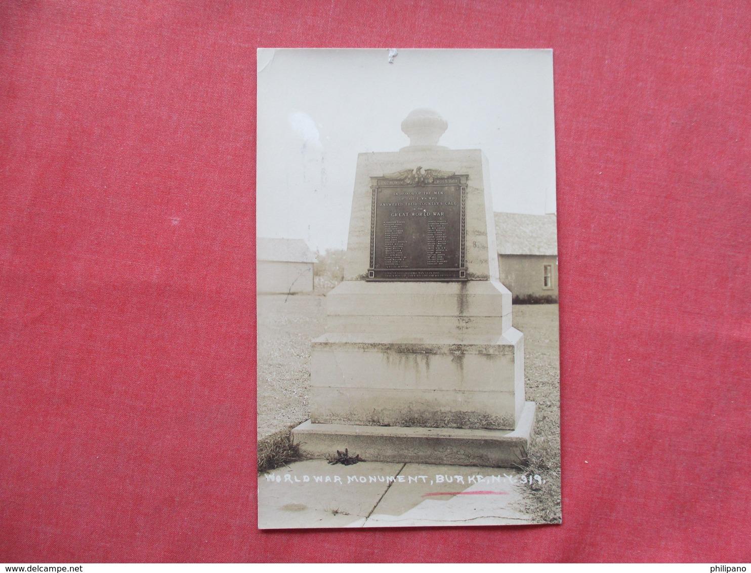 RPPC  World War Monument  Burke New York      Ref 3424 - NY - New York