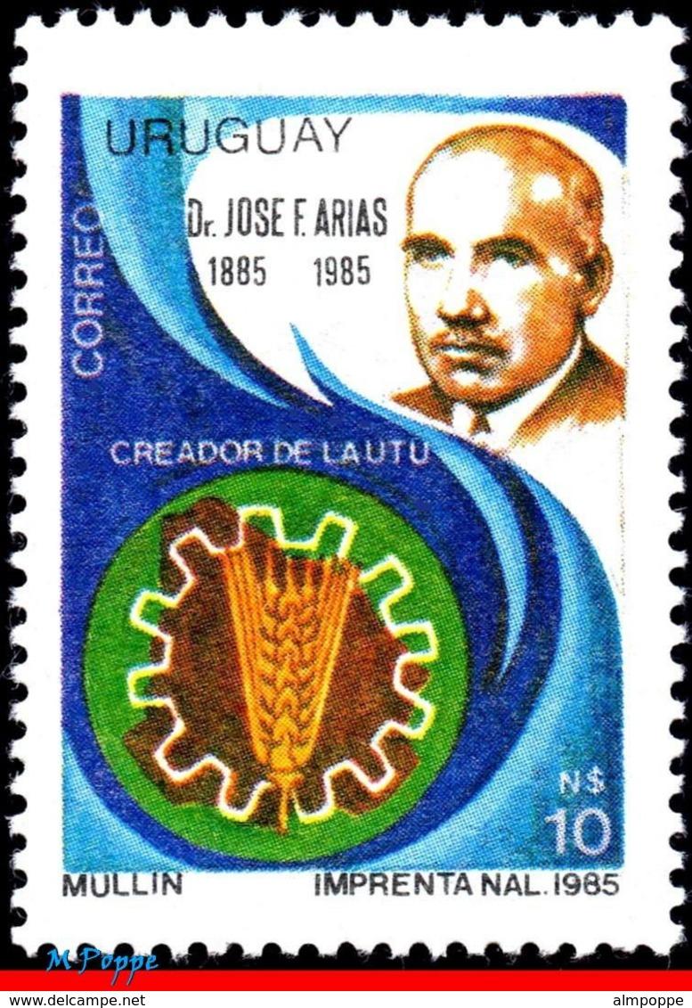 Ref. UR-1233 URUGUAY 1987 FAMOUS PEOPLE, DR. JOSE F. ARIAS,, TECHNICAL HIGHSCHOOL, MI# 1758, MNH 1V Sc# 1233 - Uruguay