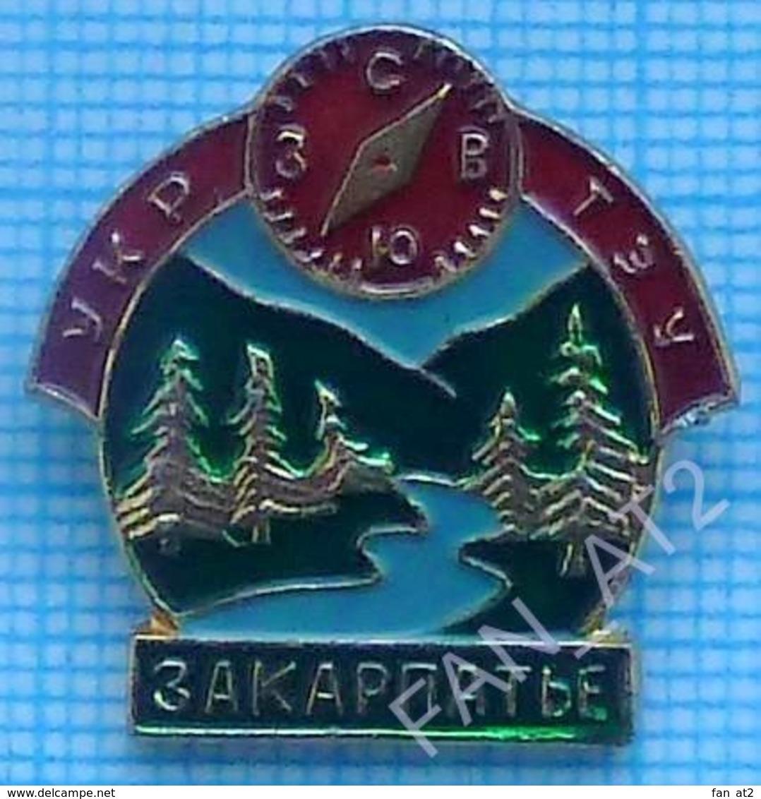 USSR Badge Soviet Union UKRAINE Alpinism Tourism Mountaineering Section. Transcarpathian. Compass. Forest. - Alpinism, Mountaineering
