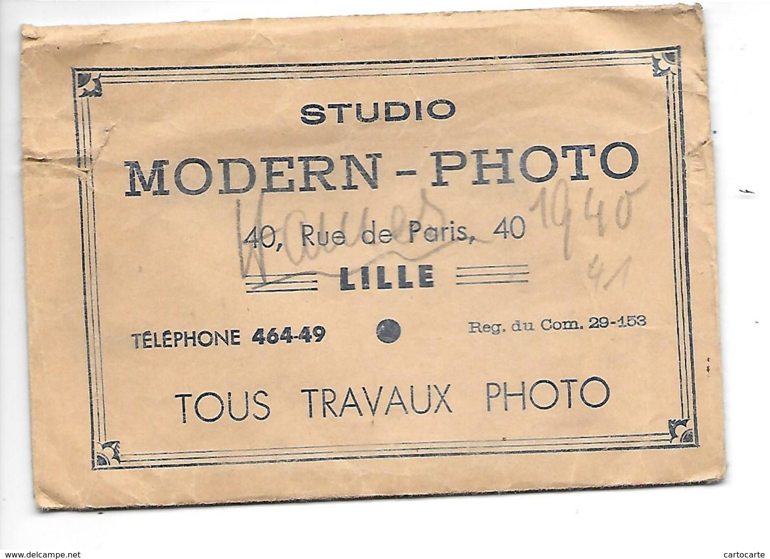 59 LILLE POCHETTE PHOTO STUDIO MODERN PHOTO 40 RUE DE PARIS .....PAS COURANT - Photography